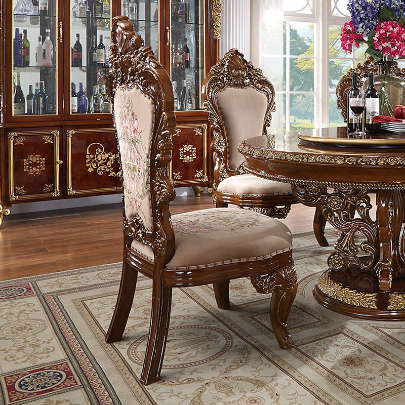 9 PC Dining Table Set in Burl & Antique Gold Finish w Fabric Seat 1803-9PC-DN