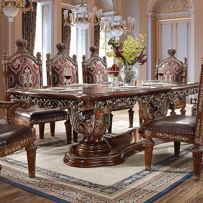 Rectangle Dining Table in Burl & Metallic Antique Gold Finish DT1804 European