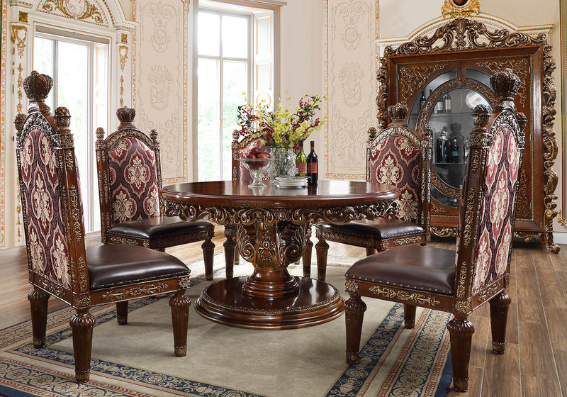 5 PC Round Dining Set in Burl & Antique Gold Finish 1804-5PC-RD European Victorian