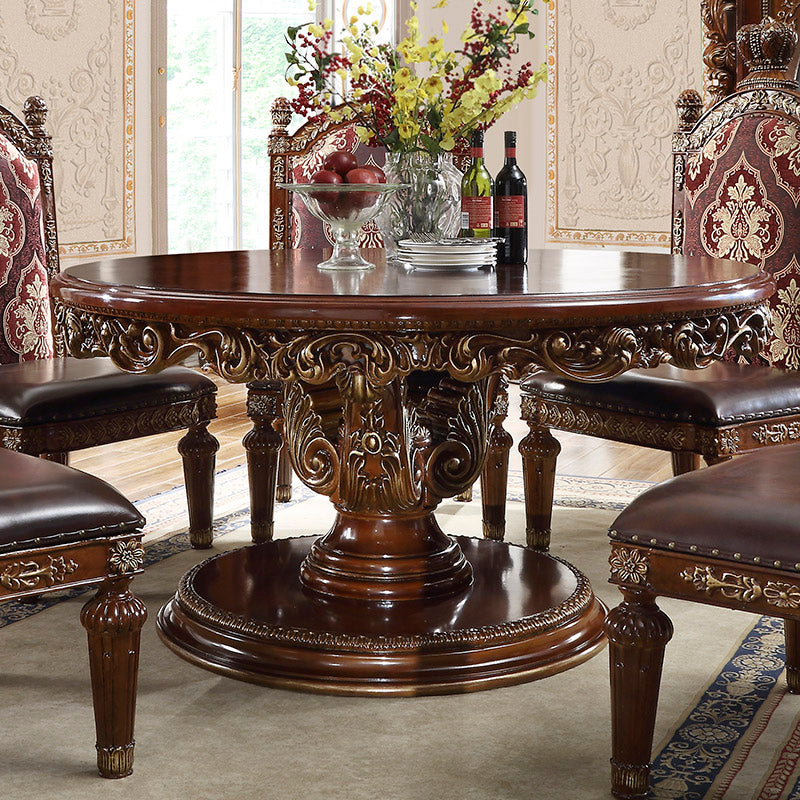 Round Dining Table in Burl & Metallic Antique Gold Finish RT1804 European Victorian