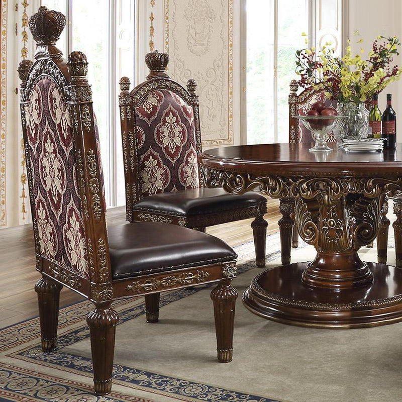 Fabric Back & Leather Side Chair in Burl & Metallic Antique Gold Finish SC1804