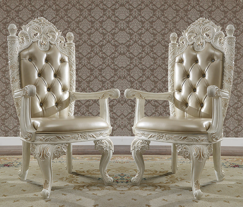 Leather Arm Chair in Antique White & Gold Finish AC1806 European Victorian