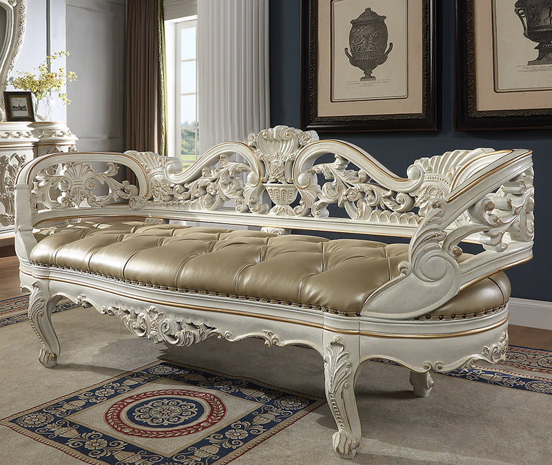 Leather Bed Bench in Antique White & Gold Brush Finish BEN1806 European