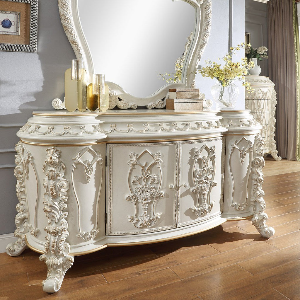 Dresser in Antique White & Gold Brush Finish D1806 European Traditional Victorian