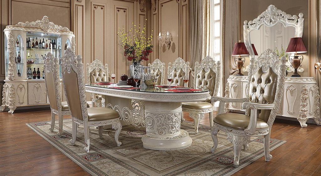 9 PC Dining Table Set in Antique White & Gold Finish w Leather Seat 1806-9PC-DN
