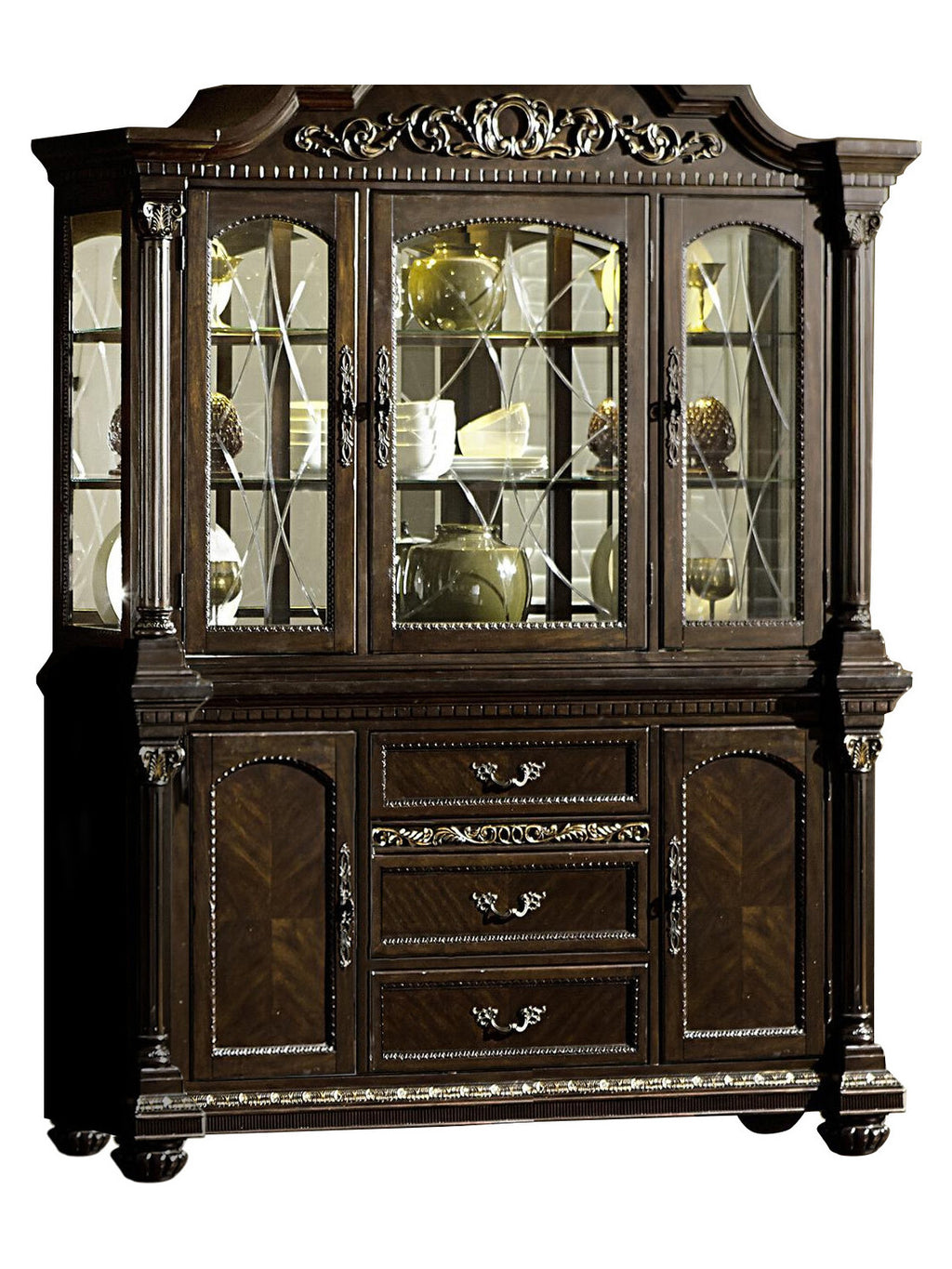 Homelegance Russian Hill Buffet & Hutch in Warm Cherry