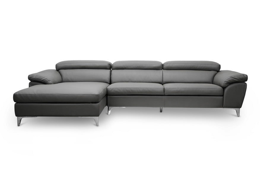 Modern Sectional Sofa in Dark Grey Faux Leather