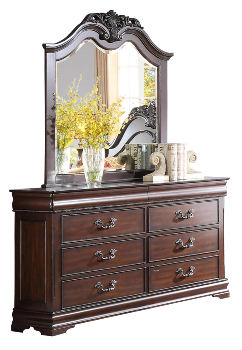 Homelegance Mont Belvieu 6PC Bedroom Set Queen Poster Bed, Dresser, Mirror, 2 Nightstand, Chest in Cherry