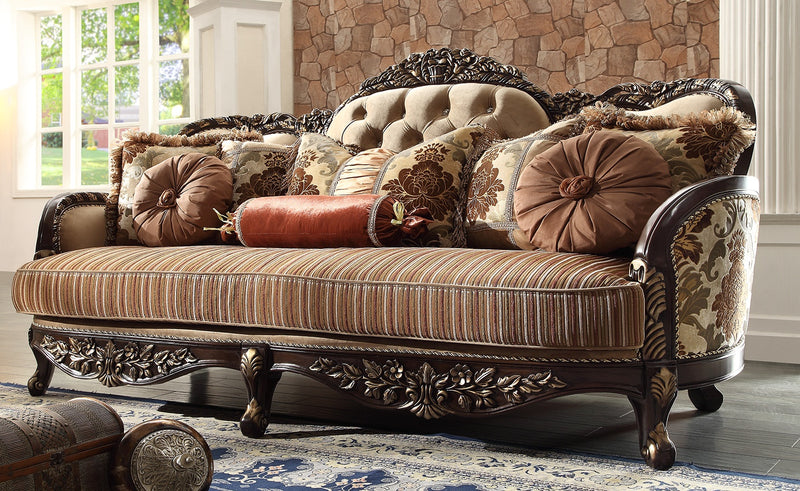 Fabric Sofa in Brown Cherry Finish S1976 European Traditional Victorian