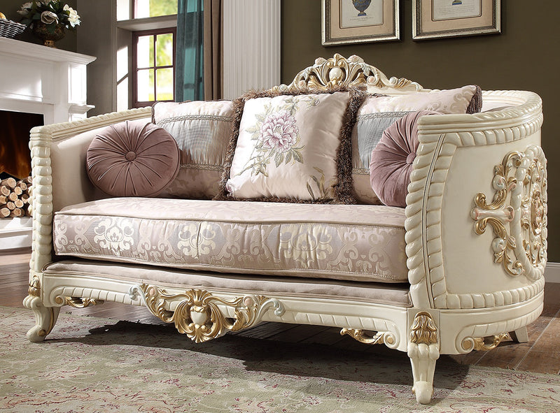 Fabric Loveseat in Newberry Cream Finish L2011 European Traditional Victorian