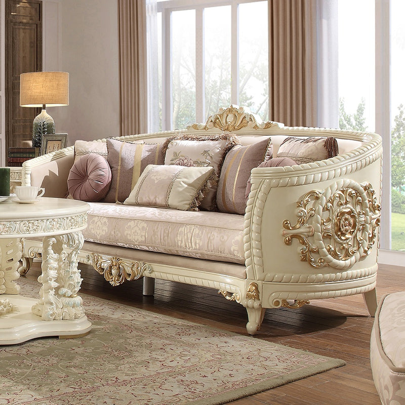 Fabric Sofa in Newberry Cream Finish S2011 European Traditional Victorian