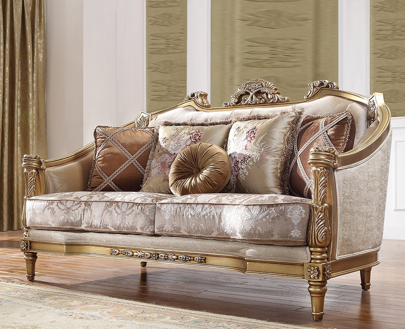 Fabric Loveseat in Natural Finish L2019 European Traditional Victorian