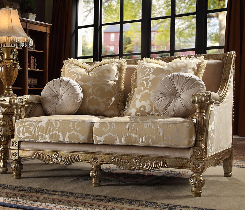 Fabric Loveseat in Metallic Bright Gold Finish L205 European Traditional Victorian