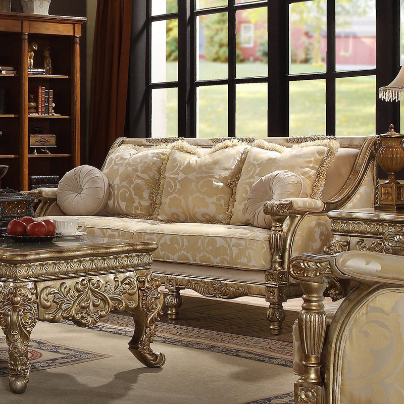 Fabric Sofa in Metallic Bright Gold Finish S205 European Traditional Victorian