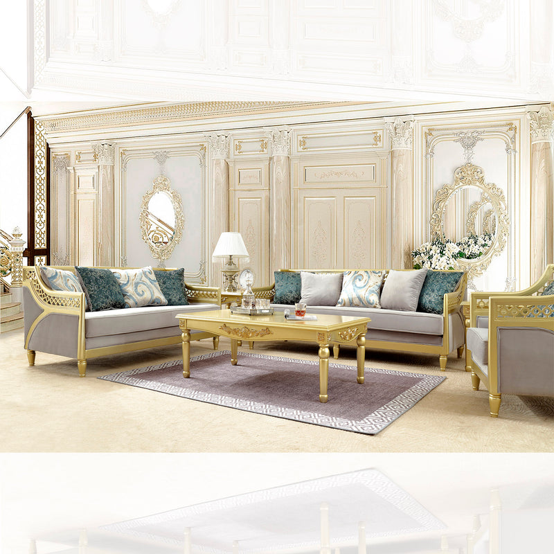 Fabric 3 PC Sofa Set in Metallic Gold Finish 2063-SSET3 European Traditional Victorian