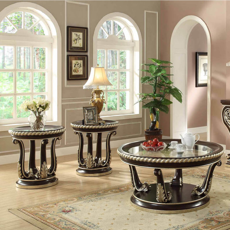 3 PC Coffee Table Set in Brown Cherry Finish 213-CTSET3 European Victorian