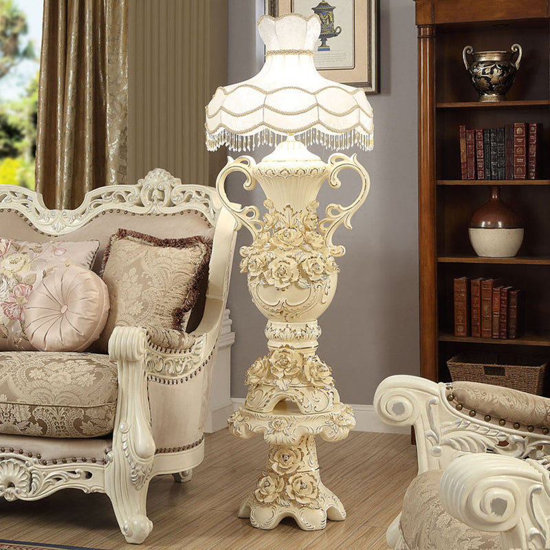 Floor Lamp With Shade in Ceramic White & Gold Finish AC2178 European Victorian