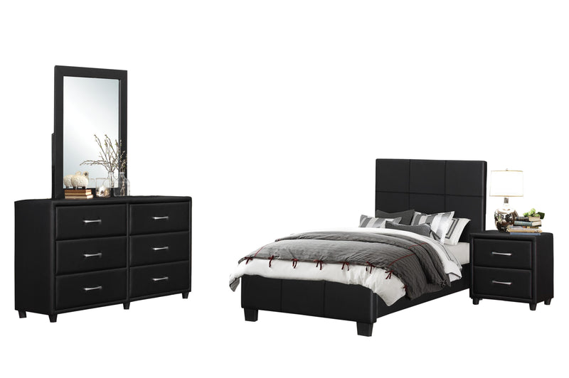 Homelegance Lorenzi 4PC Youth Bedroom Set Twin Platform Bed, Dresser, Mirror, Nightstand in Black Vinyl