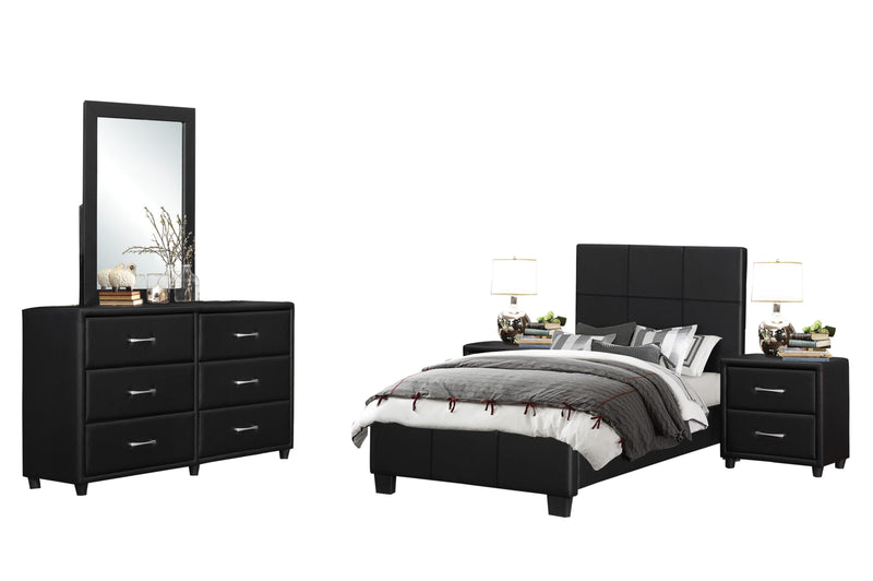 Homelegance Lorenzi 5PC Youth Bedroom Set Twin Platform Bed, Dresser, Mirror, 2 Nightstand in Black Vinyl