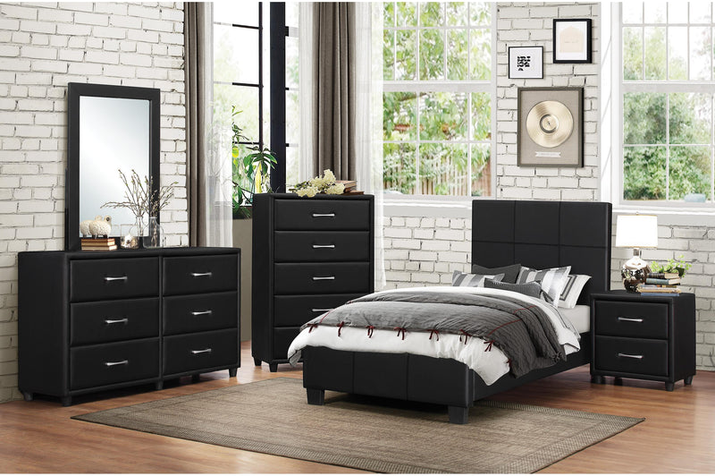Homelegance Lorenzi 5PC Youth Bedroom Set Full Platform Bed, Dresser, Mirror, Nightstand, Chest in Black Vinyl
