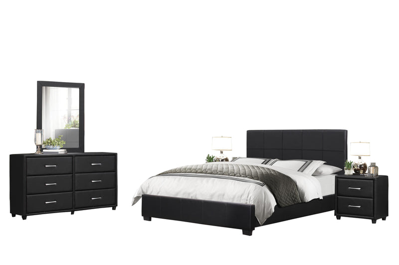 Homelegance Lorenzi 5PC Bedroom Set Cal King Platform Bed, Dresser, Mirror, 2 Nightstand in Black Vinyl