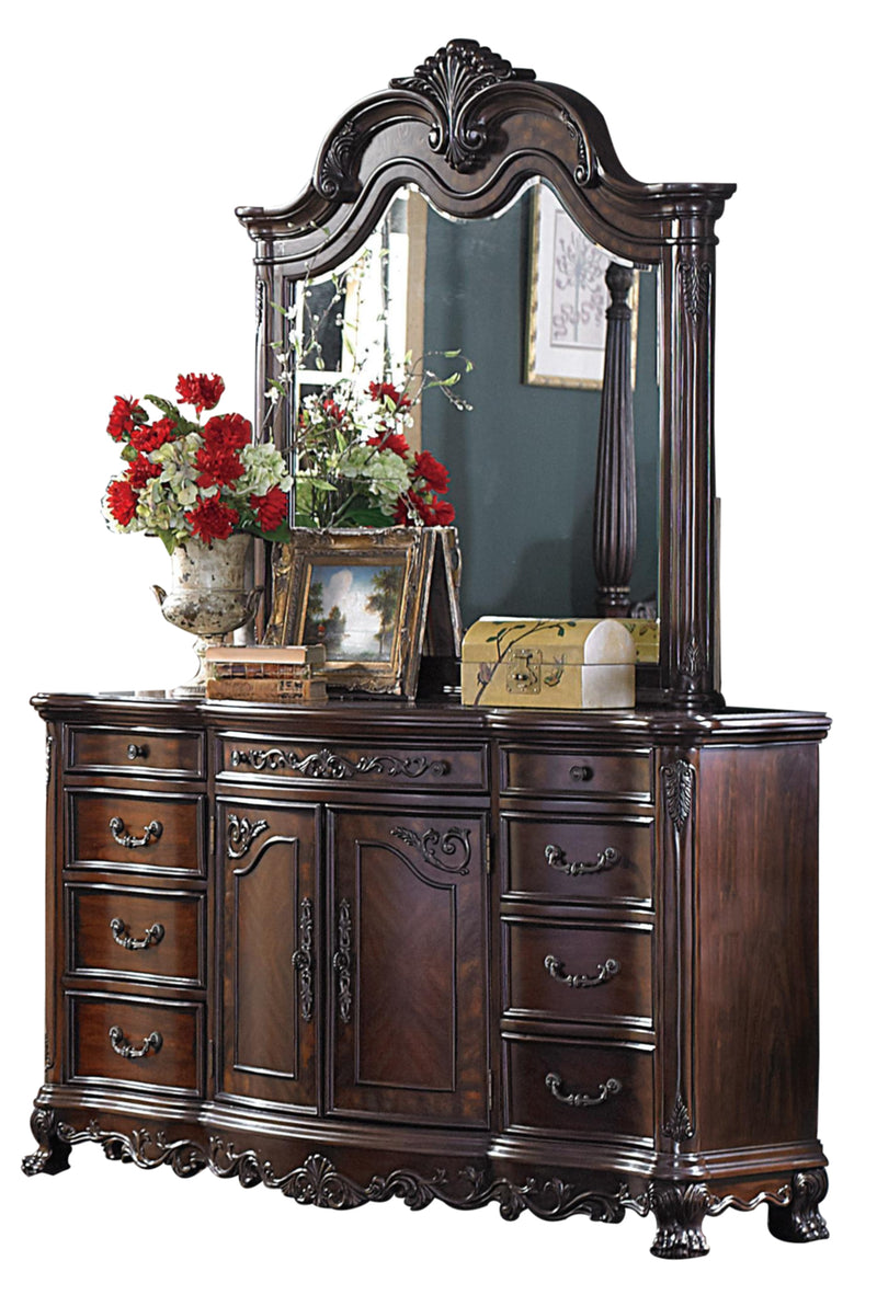 Homelegance Deryn Park 4PC Bedroom Set Queen Poster Bed, Dresser, Mirror, Nightstand in Cherry