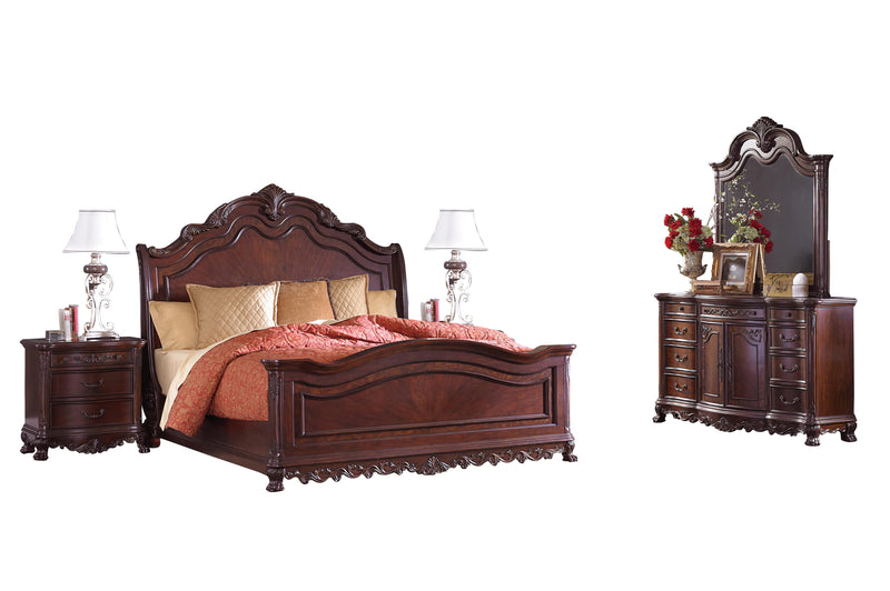Homelegance Deryn Park 5PC Bedroom Set Queen Sleigh Bed, Dresser, Mirror, 2 Nightstand in Cherry
