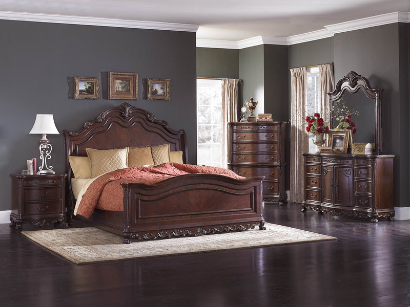 Homelegance Deryn Park E King Sleigh Bed in Cherry
