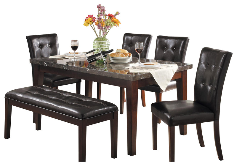 Homelegance Decatur 6PC Dining Set Dining Table with Marble Top Four Side Chair Bench in Espresso