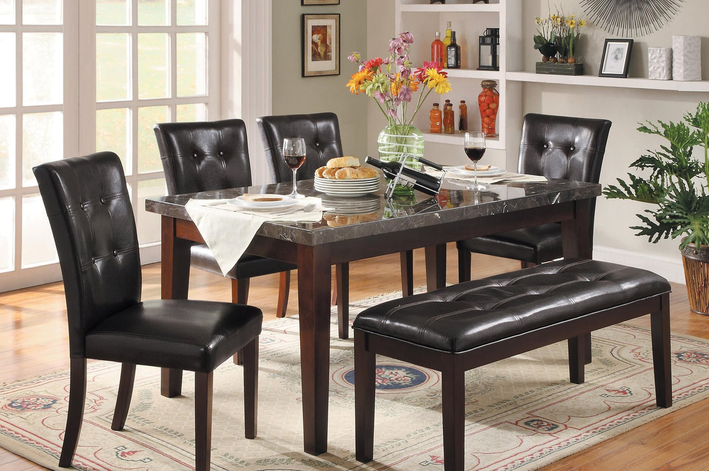 Homelegance Decatur Dining Bench In Espresso Leatherette