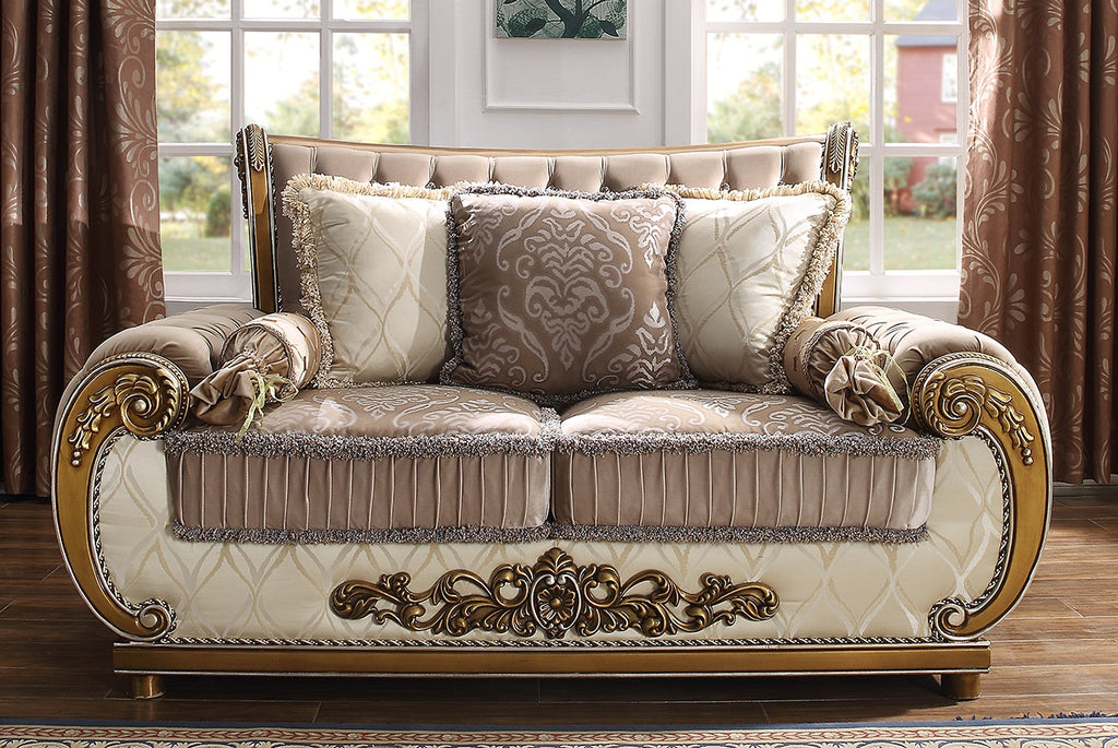 Fabric Loveseat in Brown Finish L25 European Traditional Victorian