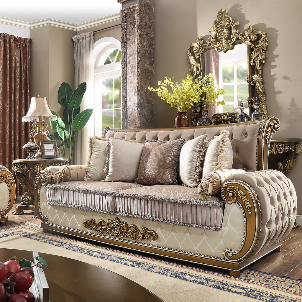 Fabric Sofa in Brown Finish S25 European Traditional Victorian