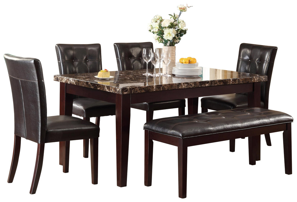 Homelegance Teague 6PC Dining Set Dining Table with Faux Marble Top Four Side Chair Bench in Dark Brown
