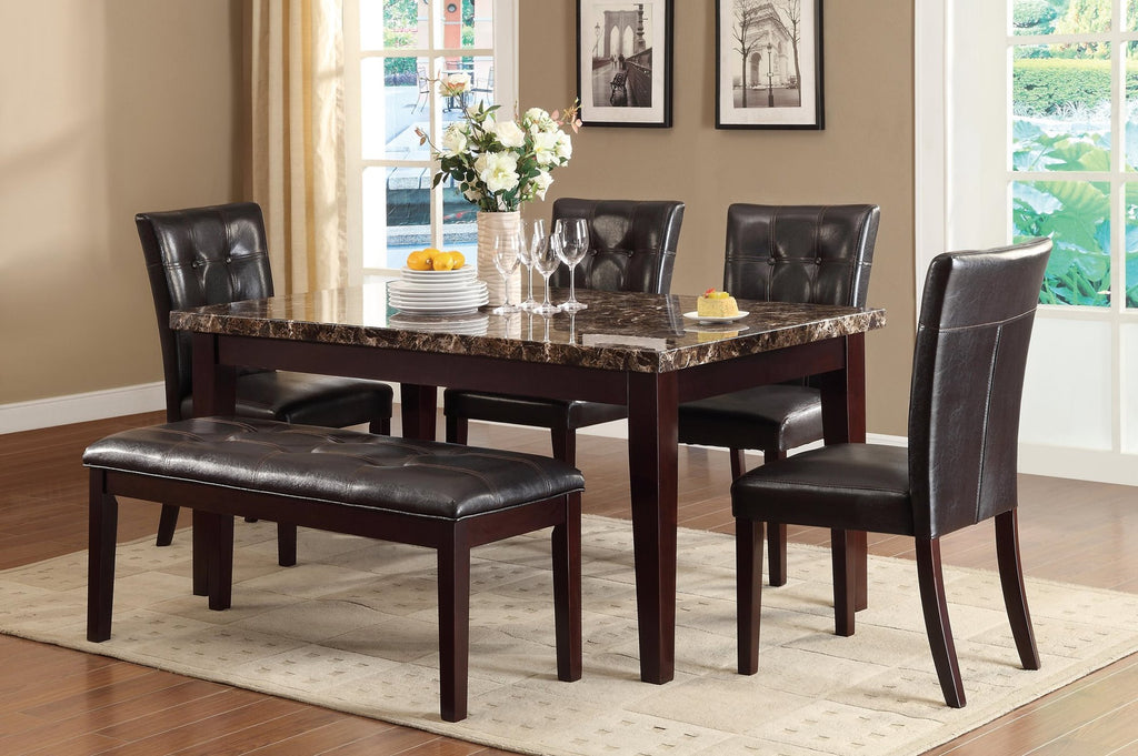 Homelegance Teague Dining Bench in Brown Leatherette