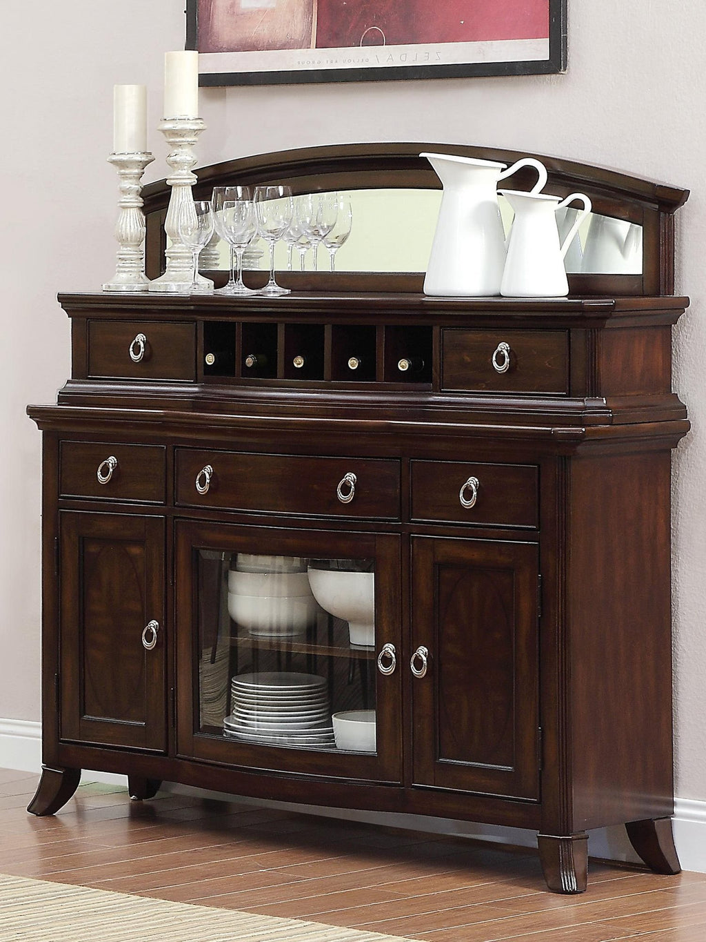 Homelegance Keegan Asian Server in Rich Brown Cherry