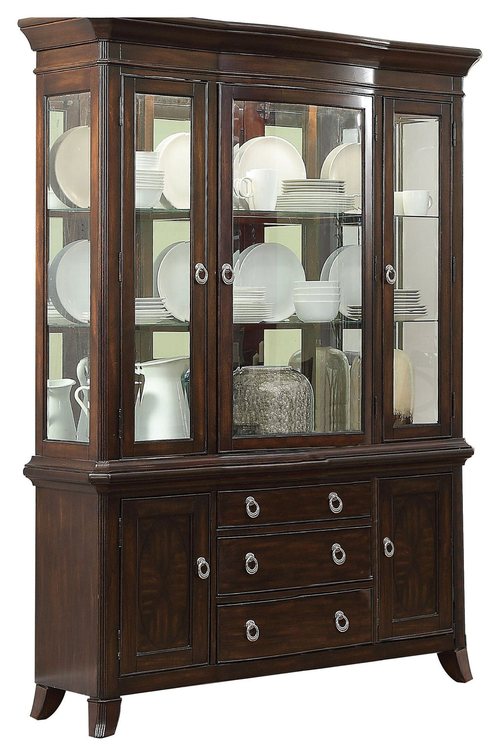 Homelegance Keegan Asian Buffet & Hutch in Rich Brown Cherry