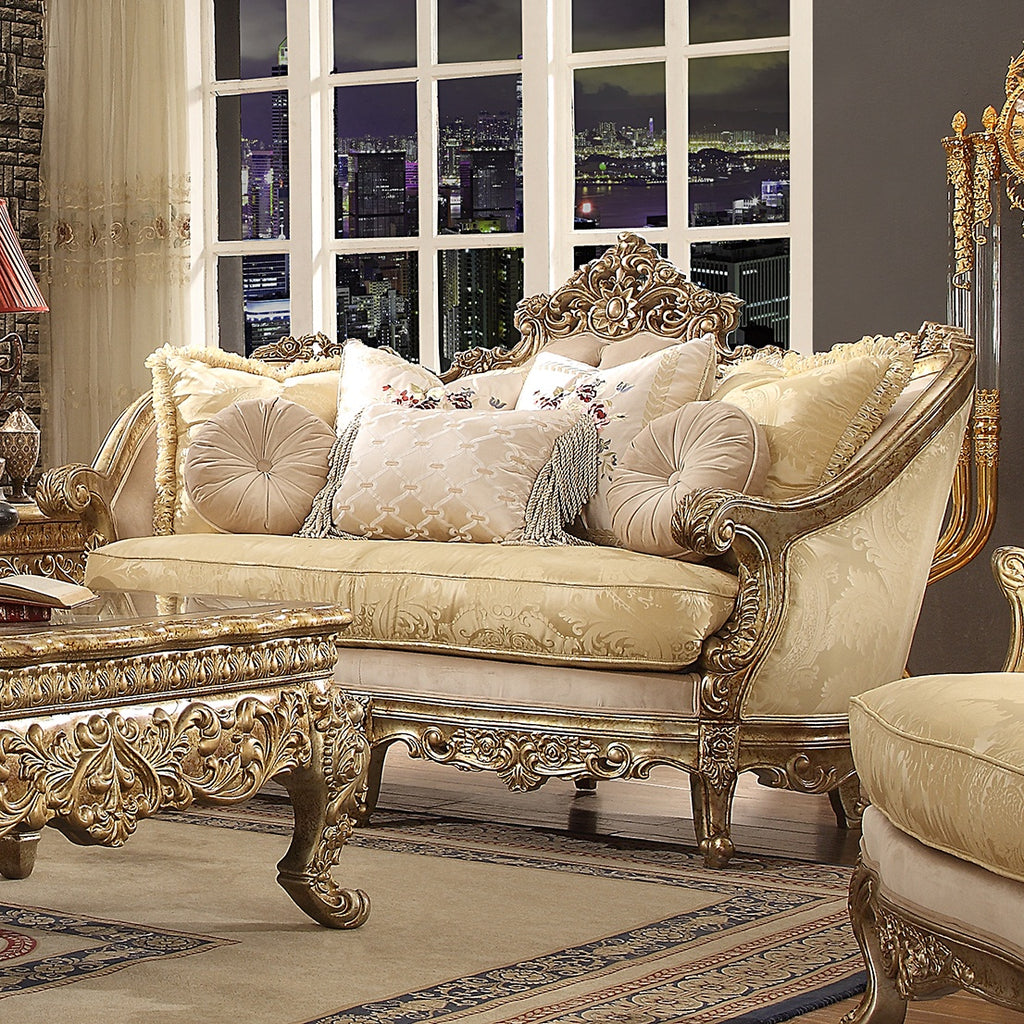 Fabric Loveseat in Metallic Bright Gold Finish L2626 European Traditional Victorian