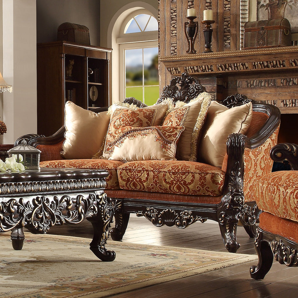 Fabric Loveseat in Brown Mahogany Finish L2627 European Traditional Victorian