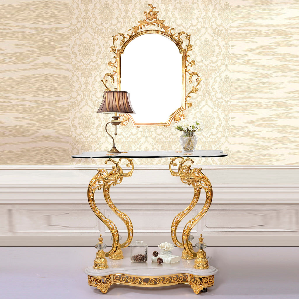 Console Table with Mirror in Golden Brass Finish CON263 European Victorian