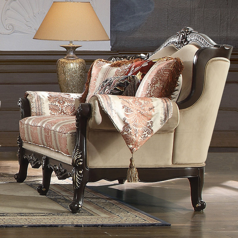 Fabric Loveseat in Brown Mahogany Finish L2638 European Traditional Victorian