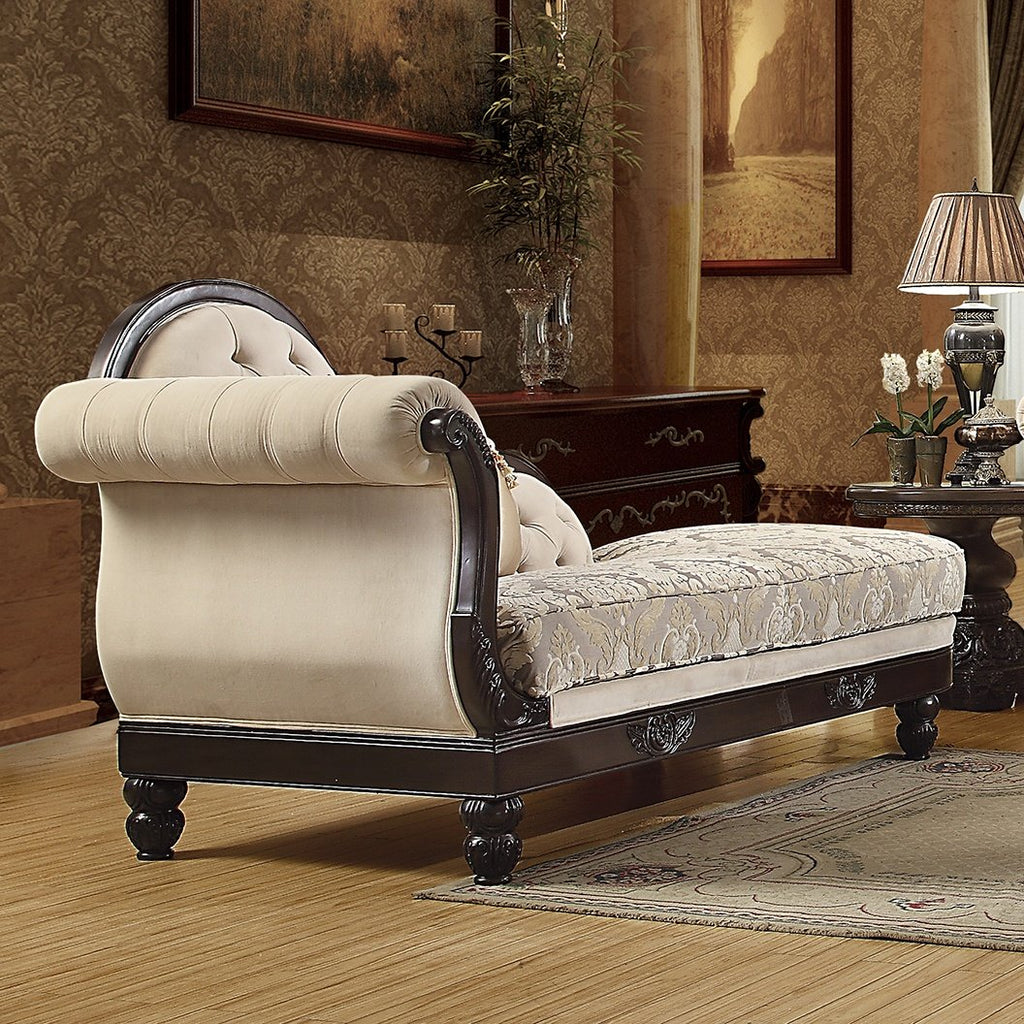 Fabric Chaise Loveseat in Brown Mahogany Finish CH2651 European Victorian