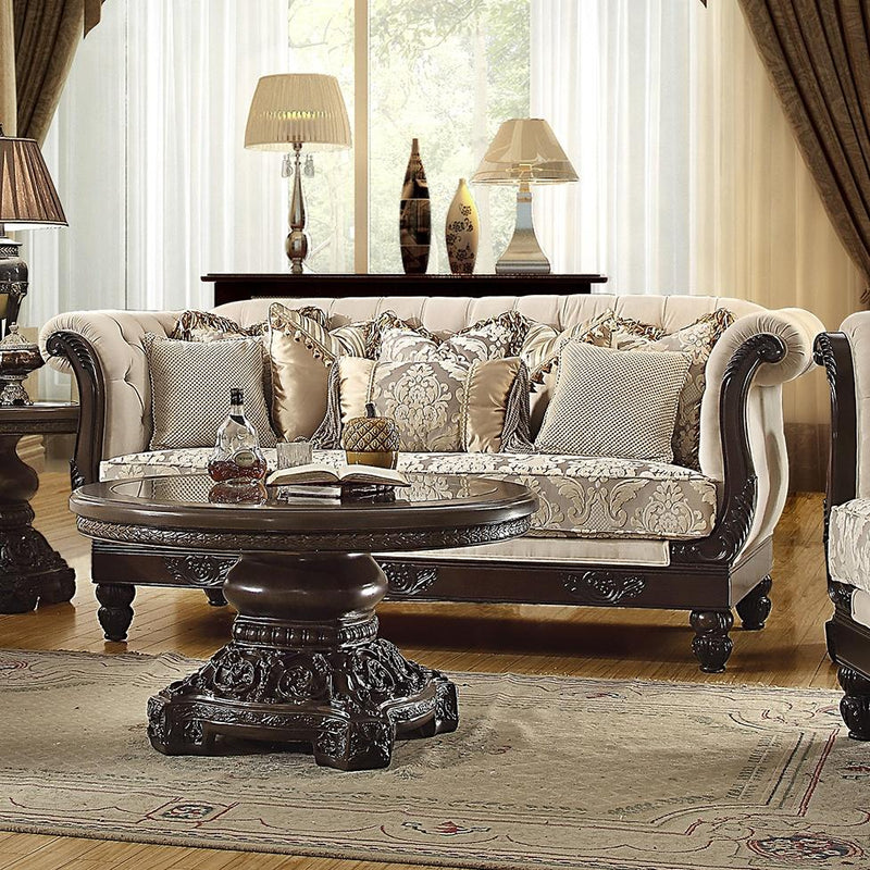 Fabric Sofa in Brown Mahogany Finish S2651 European Traditional Victorian