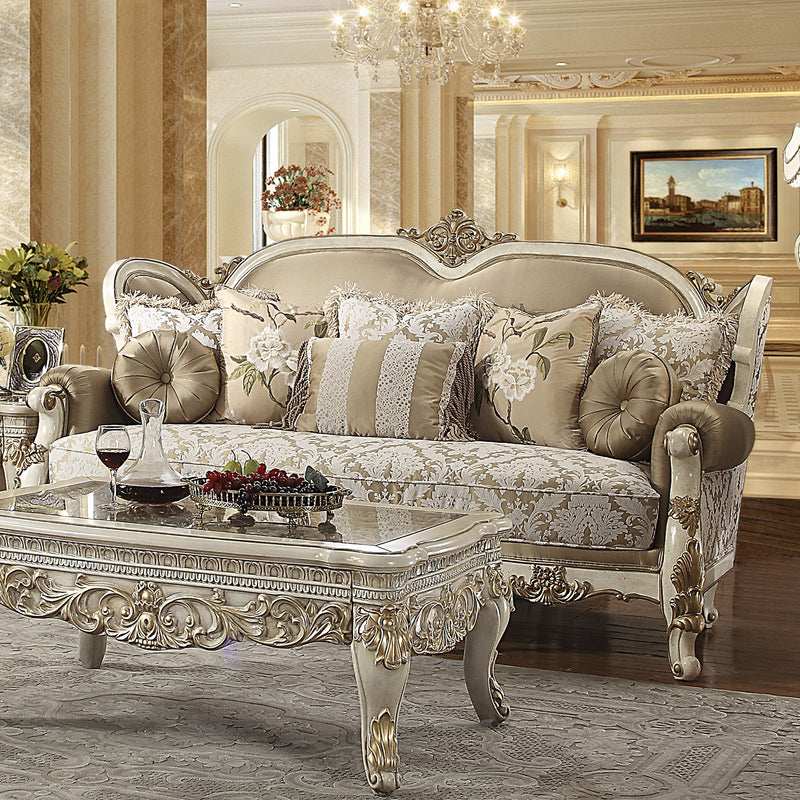 Fabric Sofa in Vintage White Finish S2652 European Traditional Victorian