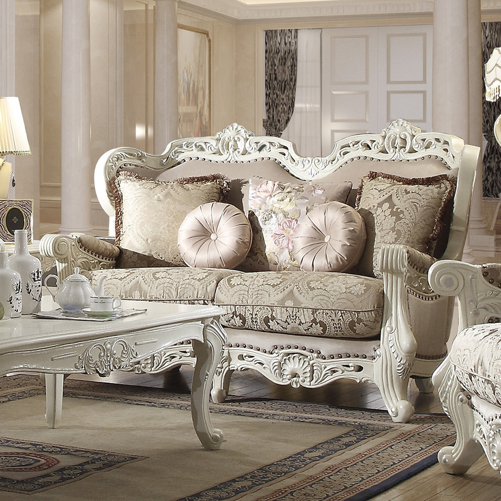 Fabric Loveseat in Antique Ivory Finish L2657 European Traditional Victorian