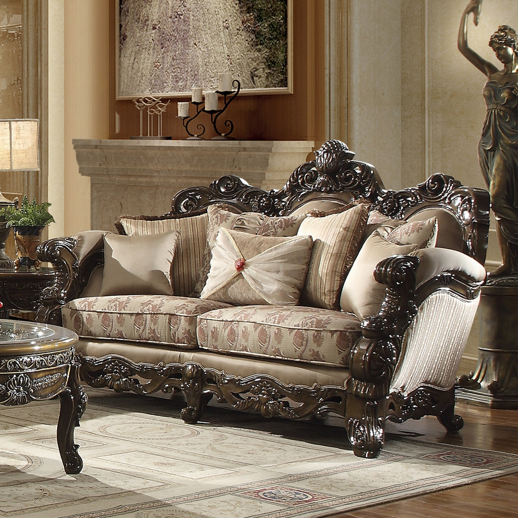 Fabric Loveseat in Brown Cherry Finish L2658 European Traditional Victorian