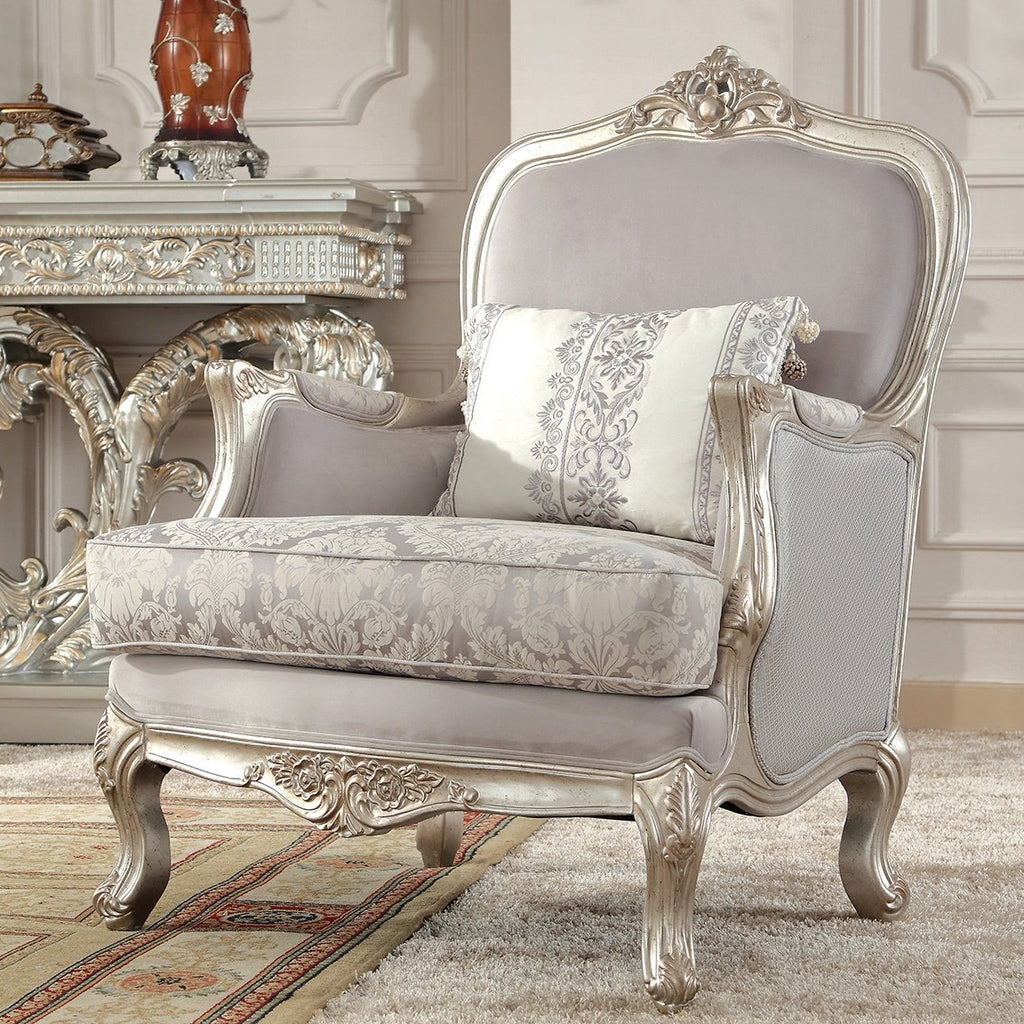 Fabric Chair in Metallic Silver Finish C2662 European Traditional Victorian