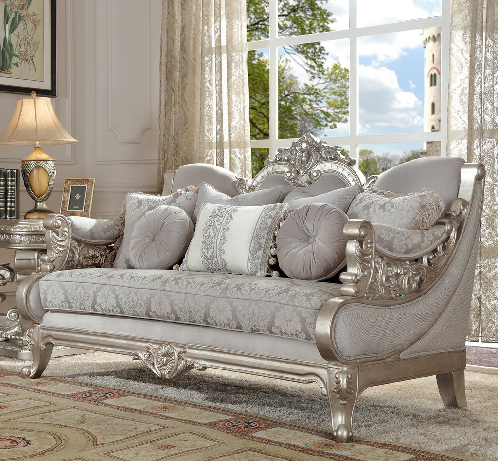 Fabric Loveseat in Metallic Silver Finish L2662 European Traditional Victorian
