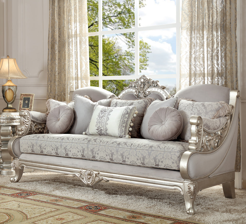 Fabric Sofa in Metallic Silver Finish S2662 European Traditional Victorian