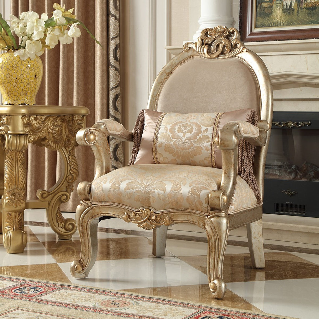 Fabric Chair in Champagne Metallic Gold & Silver Blend Finish C2663 European