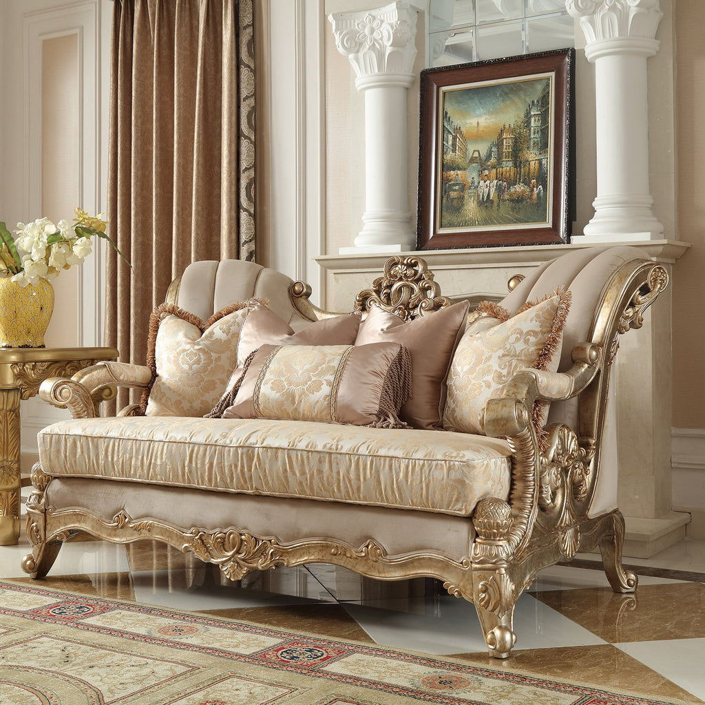 Fabric Loveseat in Champagne Metallic Gold & Silver Blend Finish L2663 European